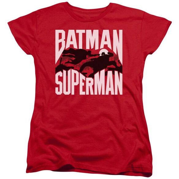 Batman Vs Superman Silhouette Fight Short Sleeve Womens Tee T-Shirt