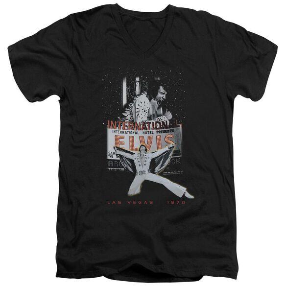 Elvis Las Vegas Short Sleeve Adult V Neck T-Shirt