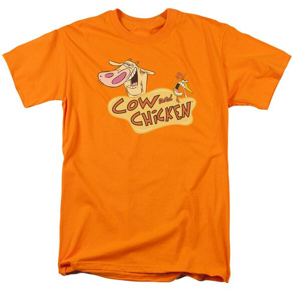 Cow & Chicken Logo Short Sleeve Adult Orange T-Shirt