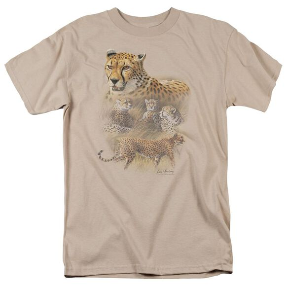 Wildlife Cheetahs Short Sleeve Adult Sand T-Shirt