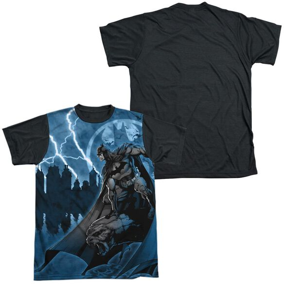 Batman Lightning Strikes Short Sleeve Adult Front Black Back T-Shirt