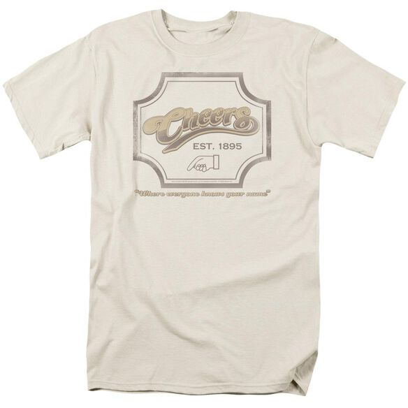 Cheers Sign Short Sleeve Adult Cream T-Shirt