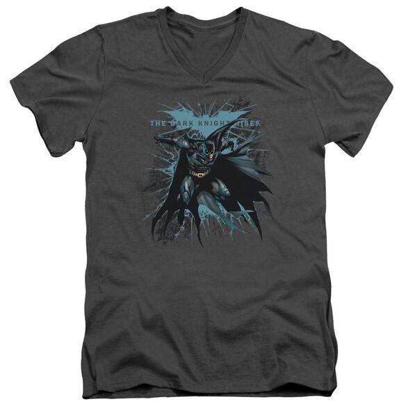 Dark Knight Rises Blue Crackle Short Sleeve Adult V Neck T-Shirt