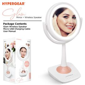 HyperGear Glam Rechargeable LED Mirror + Wireless Speaker