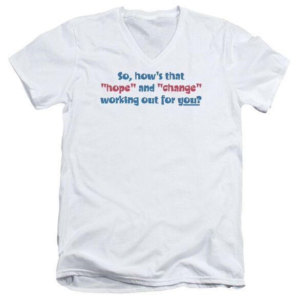 Hope And Change Short Sleeve Adult V Neck T-Shirt