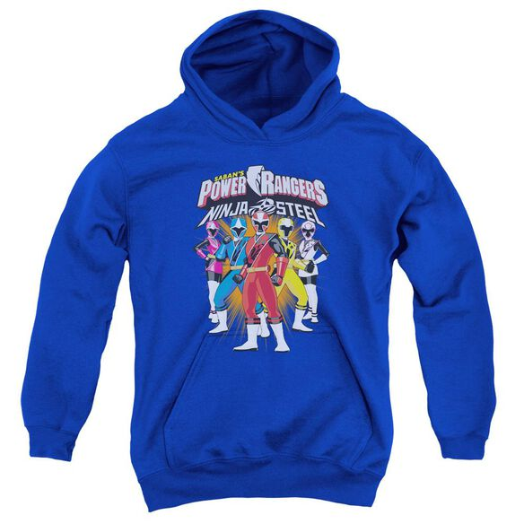 Power Rangers Team Lineup Youth Pull Over Hoodie Royal