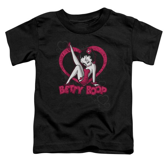 Betty Boop Scrolling Hearts Short Sleeve Toddler Tee Black Md T-Shirt