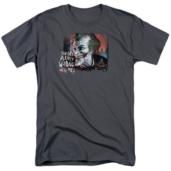 Arkham City Plenty Wrong Short Sleeve Adult Charcoal T-Shirt