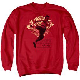 Bruce Lee Immortal Dragon - Adult Crewneck Sweatshirt - Red