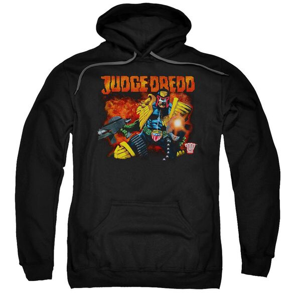 Judge Dredd Through Fire Adult Pull Over Hoodie