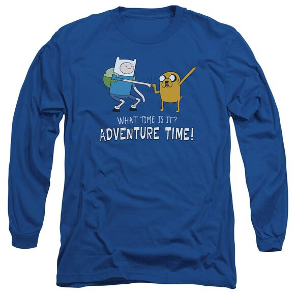 Adventure Time Fist Bump Long Sleeve Adult Royal T-Shirt