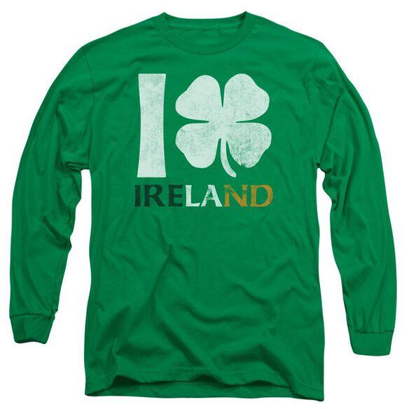 I Love Ireland Long Sleeve Adult Kelly T-Shirt