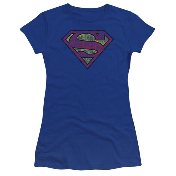 Superman Tattered Shield Premium Bella Junior Sheer Jersey Royal