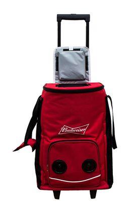 Budweiser Large Rolling Cooler Bag with Bluetooth Speaker