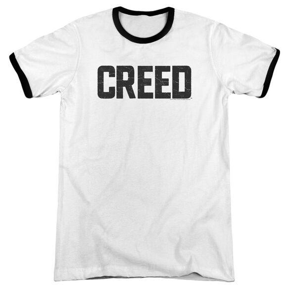Creed Cracked Logo Adult Ringer White Black