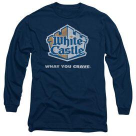 WHITE CASTLE DISTRESSED LOGO - L/S ADULT 18/1 - NAVY T-Shirt
