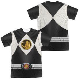Power Rangers Black Ranger Uniform (Front Back Print) Short Sleeve Adult Poly Crew T-Shirt