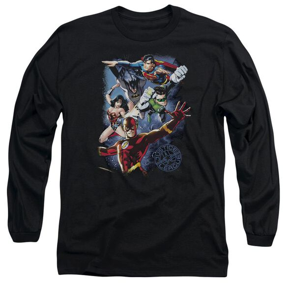 Jla Galactic Attack Color Long Sleeve Adult T-Shirt