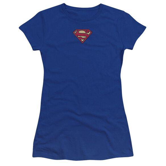 Superman Superman Plush Emblem Premium Bella Junior Sheer Jersey Royal
