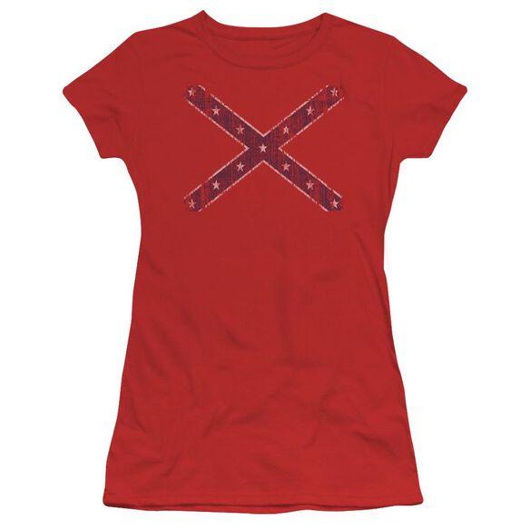 Distressed Rebel Flag Short Sleeve Junior Sheer T-Shirt