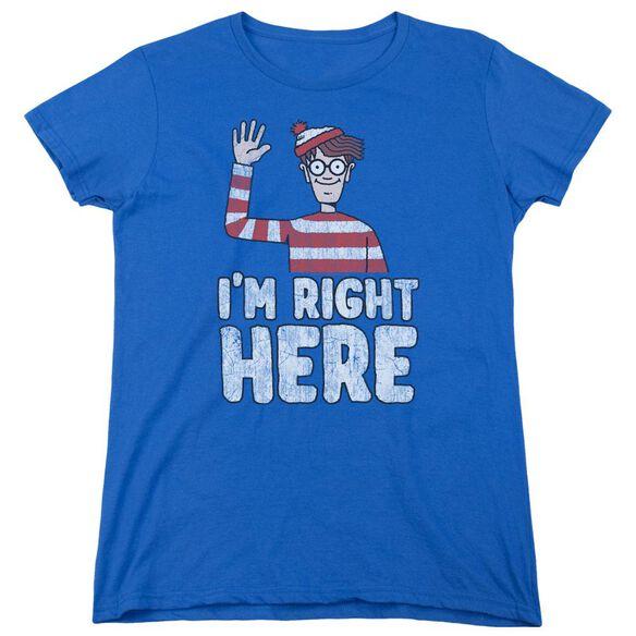 Wheres Waldo Im Right Here Short Sleeve Womens Tee Royal T-Shirt