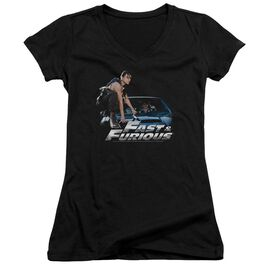 Fast And The Furious Car Ride - Junior V-neck - Black - Lg - Black