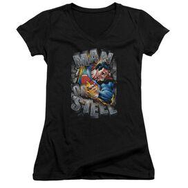 Superman Ripping Steel Junior V Neck T-Shirt