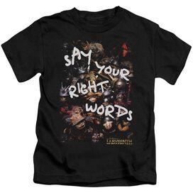 Labyrinth Right Words Short Sleeve Juvenile Black T-Shirt