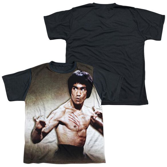 Bruce Lee Scratched Short Sleeve Youth Front Black Back T-Shirt