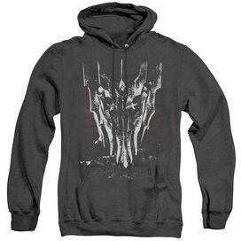 LOR BIG SAURON HEAD - ADULT HEATHER HOODIE - BLACK