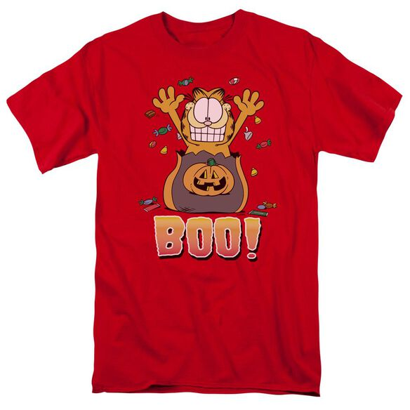 Garfield Boo! Short Sleeve Adult Red T-Shirt