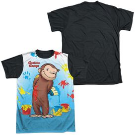Curious George Paint All Over Short Sleeve Adult Front Black Back T-Shirt