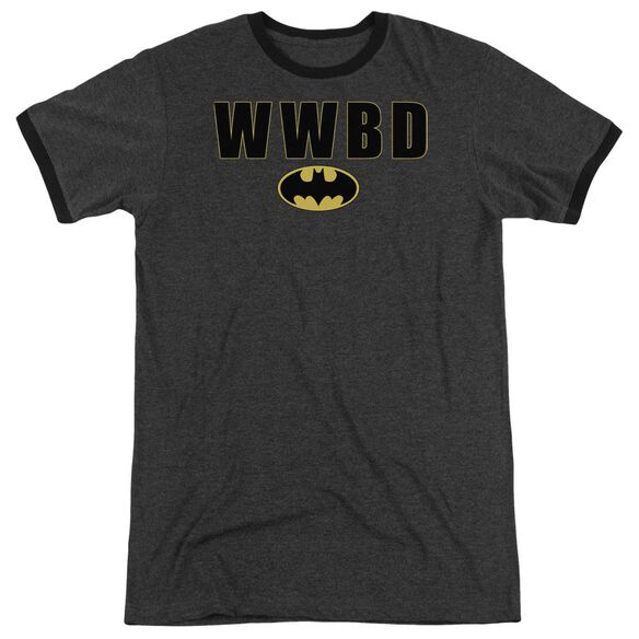 Batman Wwbd Logo Adult Heather Ringer Charcoal