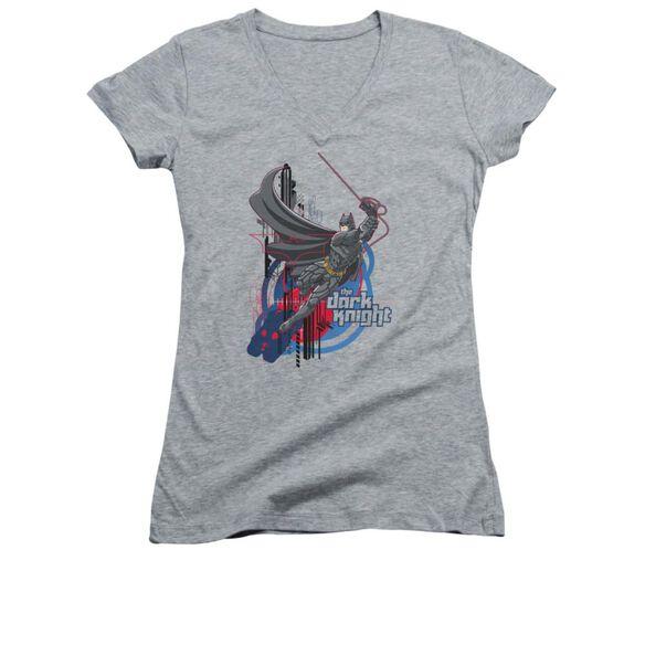 Dark Knight Swinging Dark Knight Junior V Neck Athletic T-Shirt