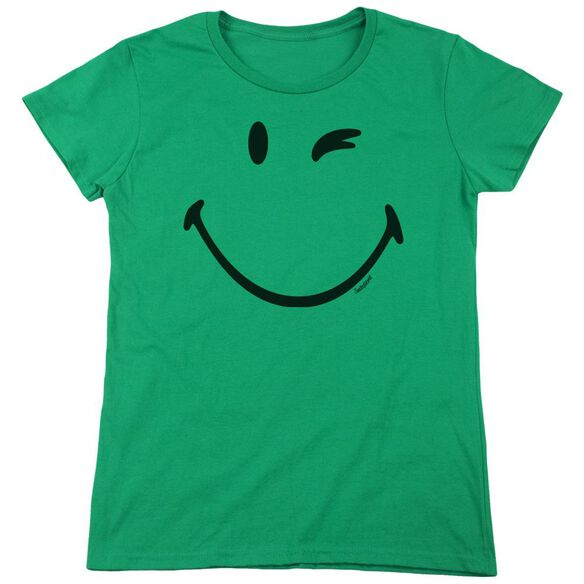 Smiley World Big Wink Short Sleeve Womens Tee Kelly T-Shirt