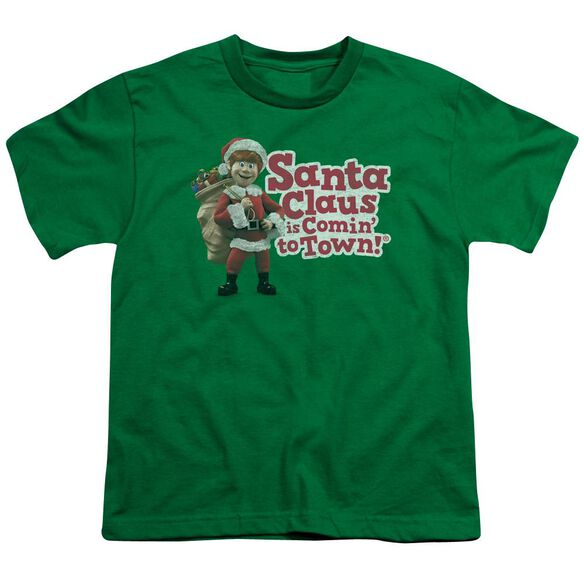 Santa Claus Is Comin To Town Santa Logo Short Sleeve Youth Kelly T-Shirt