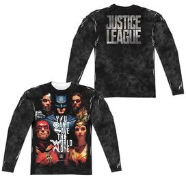 Justice League Movie Save The World Poster (Front Back Print) Long Sleeve Adult Poly Crew T-Shirt