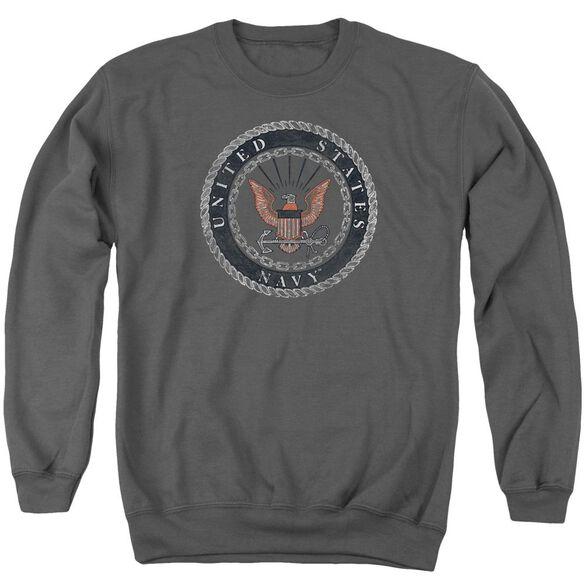 Navy Rough Emblem Adult Crewneck Sweatshirt