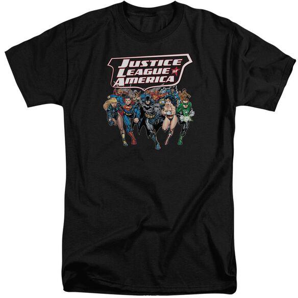 Jla Charging Justice Short Sleeve Adult Tall T-Shirt