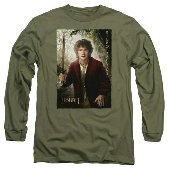 The Hobbit Bilbo Poster Long Sleeve Adult Military T-Shirt