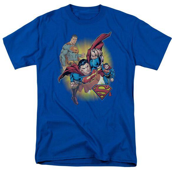 Jla Superman Collage Short Sleeve Adult Royal T-Shirt