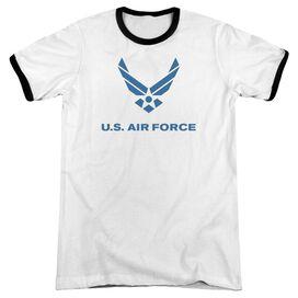Air Force Distressed Logo Adult Ringer White Black
