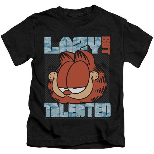 Garfield Lazy But Talented Short Sleeve Juvenile Black T-Shirt