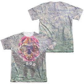 Cbgb Graffiti Skull (Front Back Print) Adult Poly Cotton Short Sleeve Tee T-Shirt