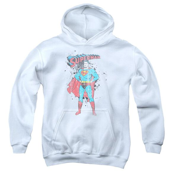 Superman Vintage Ink Splatter Youth Pull Over Hoodie