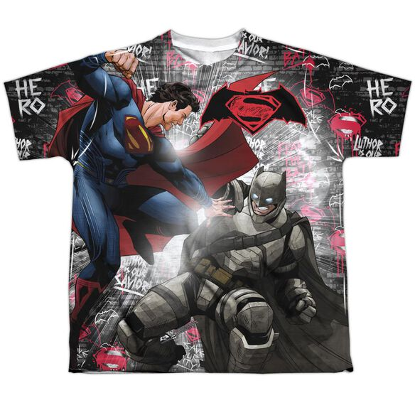 Batman V Superman Showdown Short Sleeve Youth Poly Crew T-Shirt