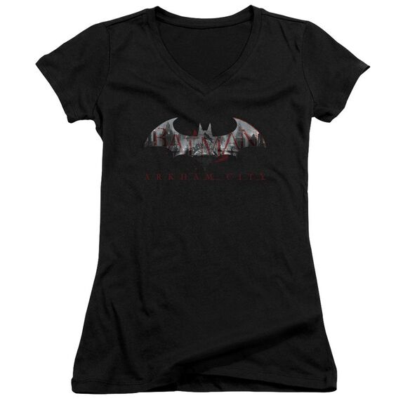 Arkham City Bat Fill Junior V Neck T-Shirt