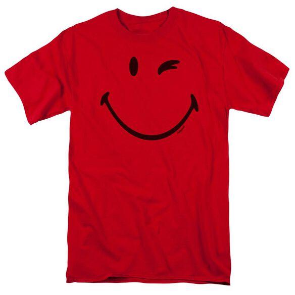 Smiley World Big Wink Short Sleeve Adult Red T-Shirt