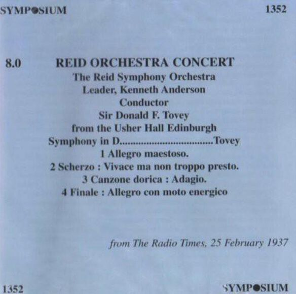 Tovey/ Reid Symphony Orchestra - Symphony In D