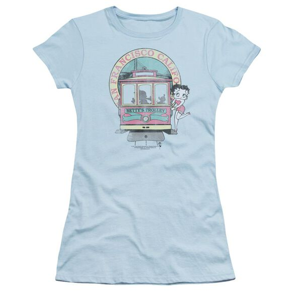 Betty Boop Betty's Trolley Short Sleeve Junior Sheer Light T-Shirt